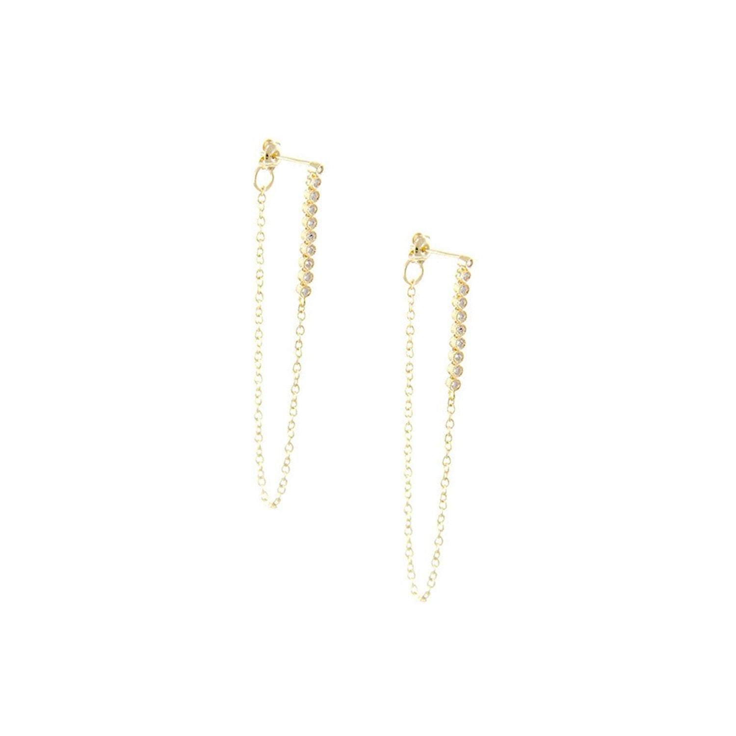 Ettika Keep Your Cool Dainty Crystal and Gold Tone Drop Chain Earrings