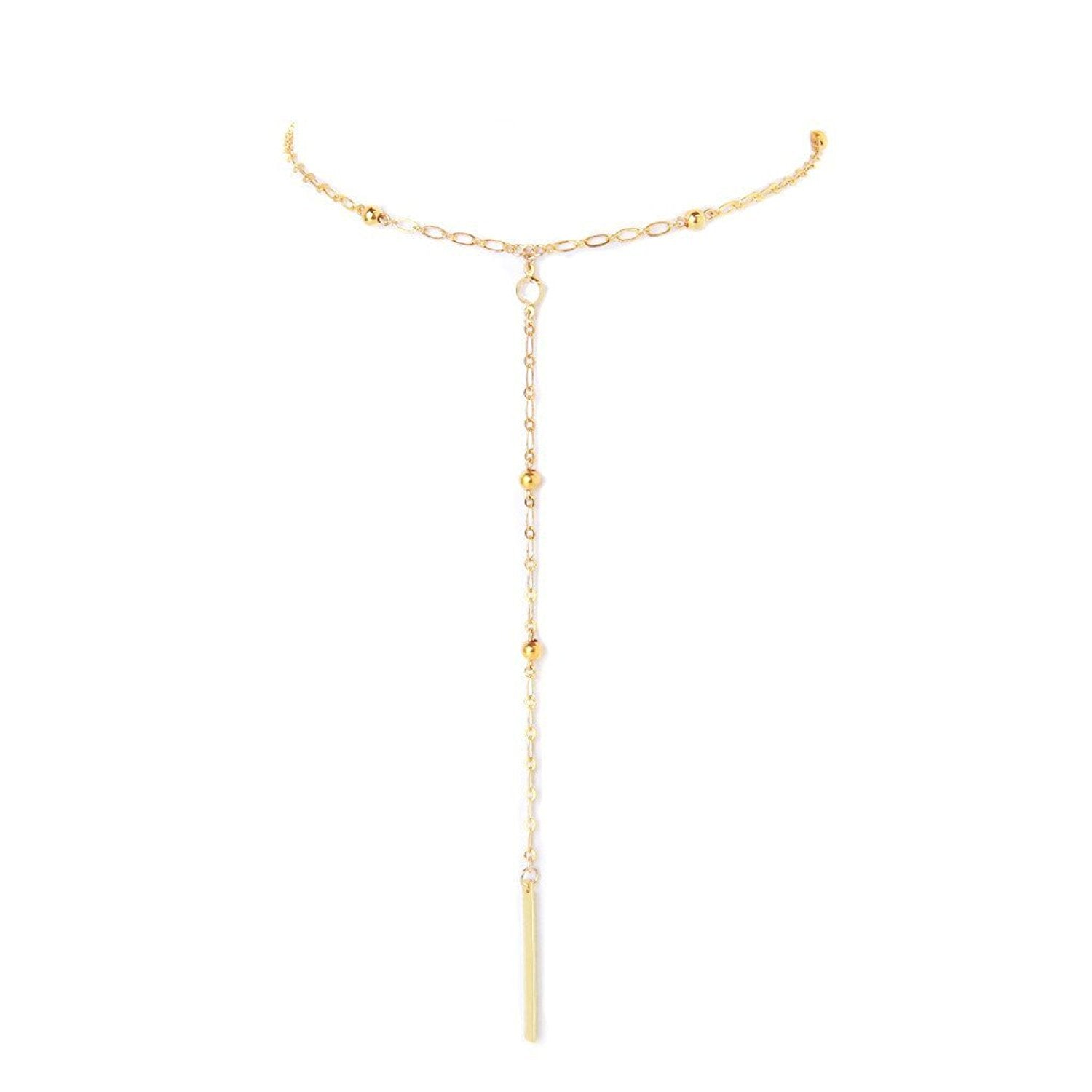 Ettika Golden Days Gold Tone Lariat Bar Drop Necklace