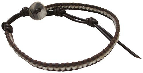 Chan Luu Single Brown Leather with Silver Nuggets Wrap Bracelet