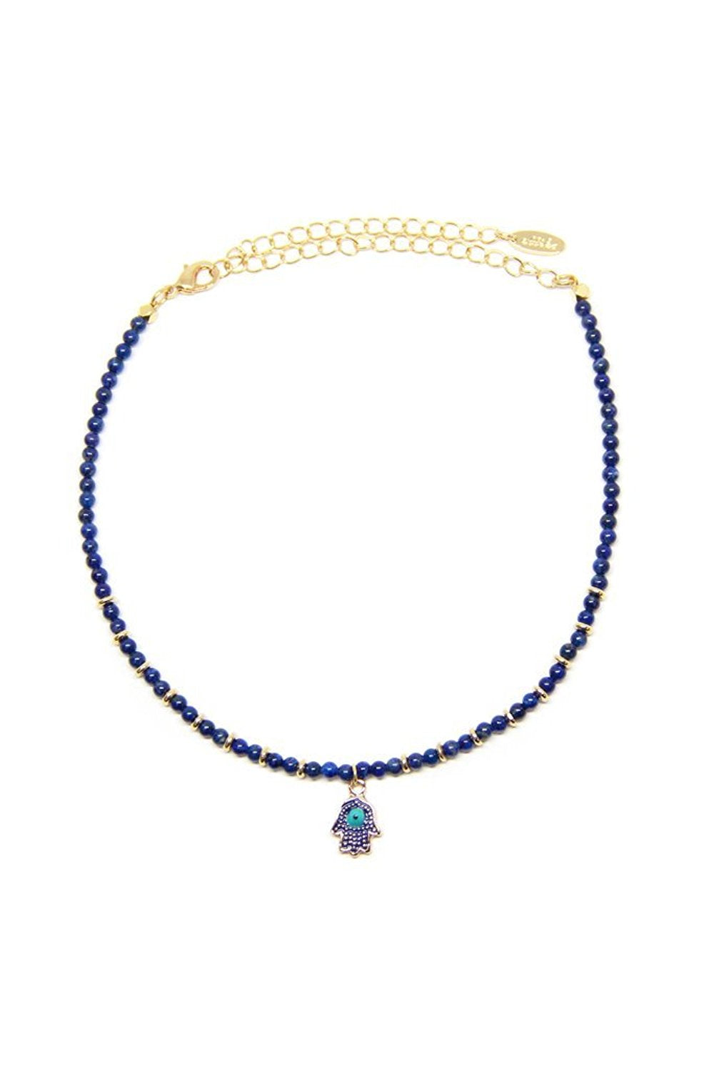Ettika Treat Yourself in Lapis and Gold Plated Choker Necklace
