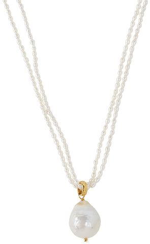 Chan Luu Women's White Baroque Pearl Pendant Necklace