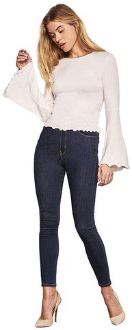 cupcakes and cashmere Women's Kamala Rib Knit Bell Sleeve with Hem Details,Shirt
