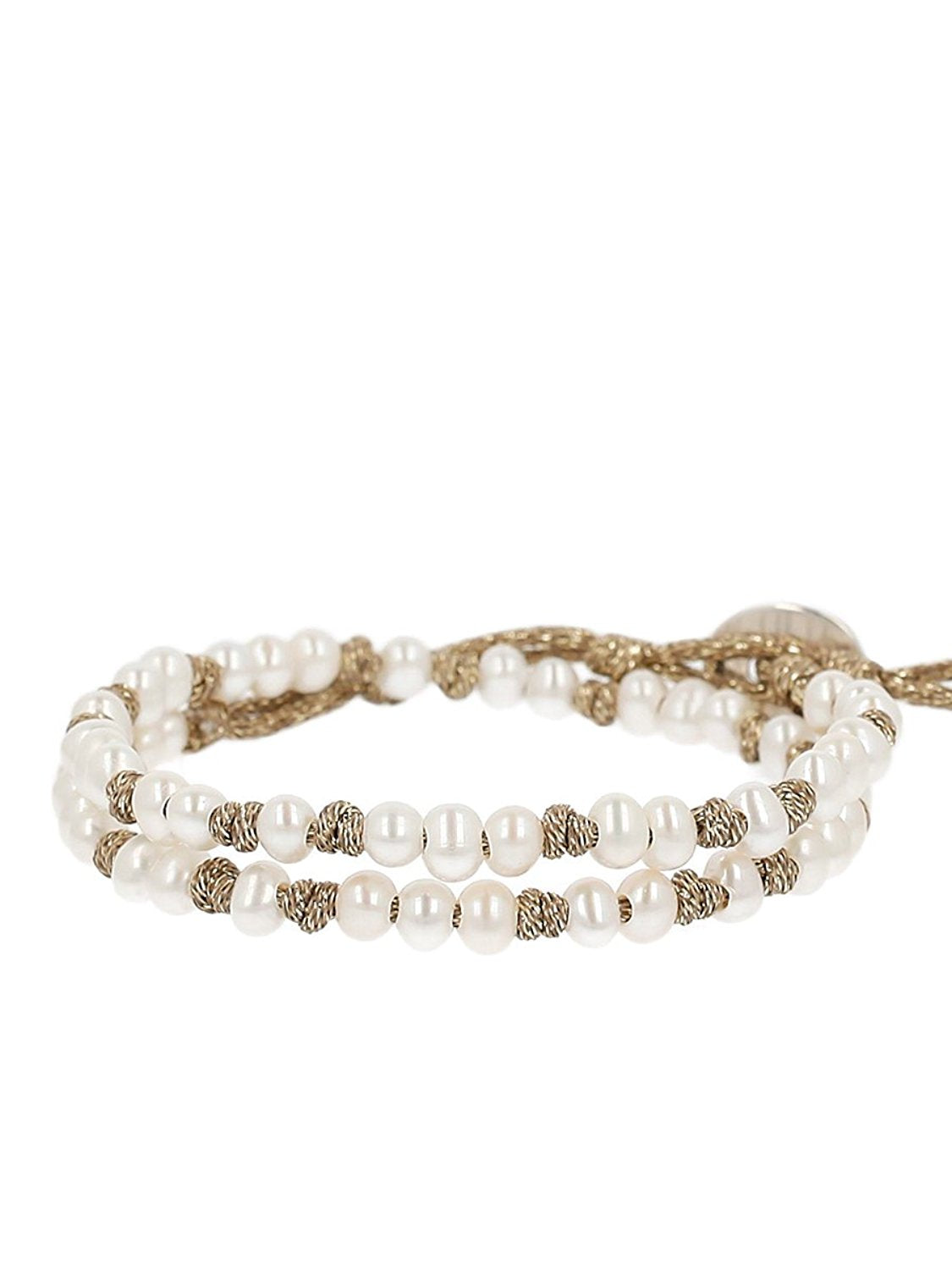 Chan Luu White Freshwater Cultured Pearls On A Knotted Gold Tone Metallic Wrap Bracelet