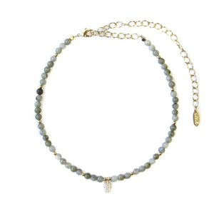 Ettika Brace Yourself Labradorite Beaded Choker with Crystal Hamsa Charm Necklace