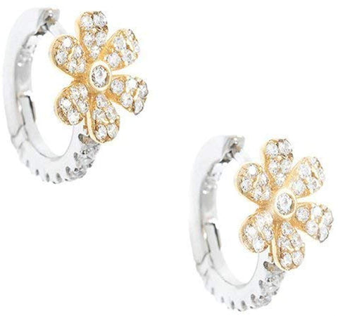 Shashi Gold Plated Blossom Crystal Petite Huggie Earrings