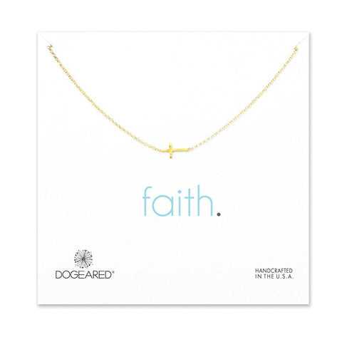 Dogeared Faith Small Sideways Cross Necklace