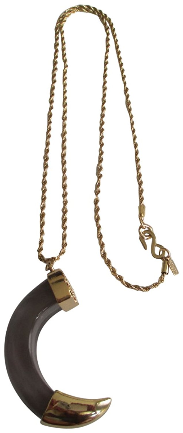 Kenneth Jay Lane Transparent Smokey Grey Resin Horn Pendant Gold Plated Chain Necklace