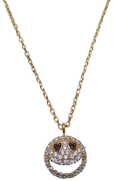 Tai 18k Gold Plated Smiley Crystal Necklace