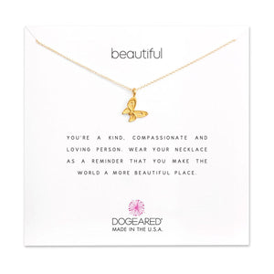 "Dogeared Beautiful Butterfly Gold Dipped 16""Reminder Necklace"