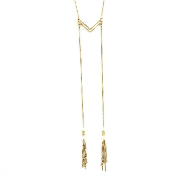 Ettika Charming Chevron Tassel Necklace
