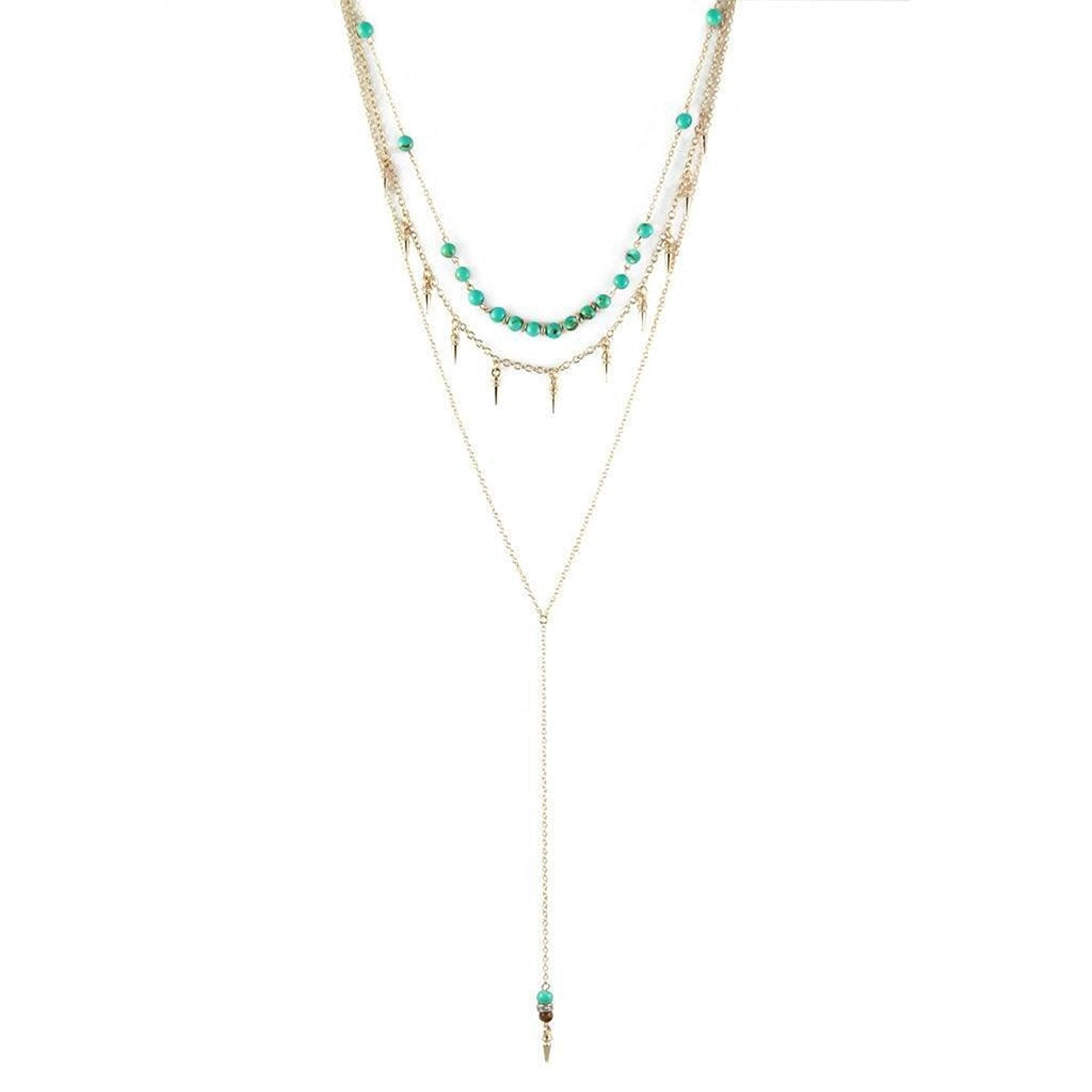 Ettika Blessed Be Blue Beaded And Spike Triple Gold Tone Chain Y Necklace