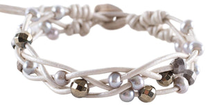 Chan Luu Grey Freshwater Cultured Pearls and Semi Precious Stones Off White Braided Leather Bracelet