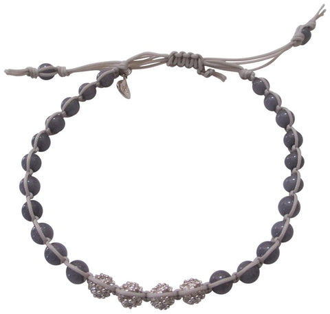 Tai Braided Grey Cord With Grey Beads And Four Silvertone Cz Crystal Mini Balls Adjustable Bracelet