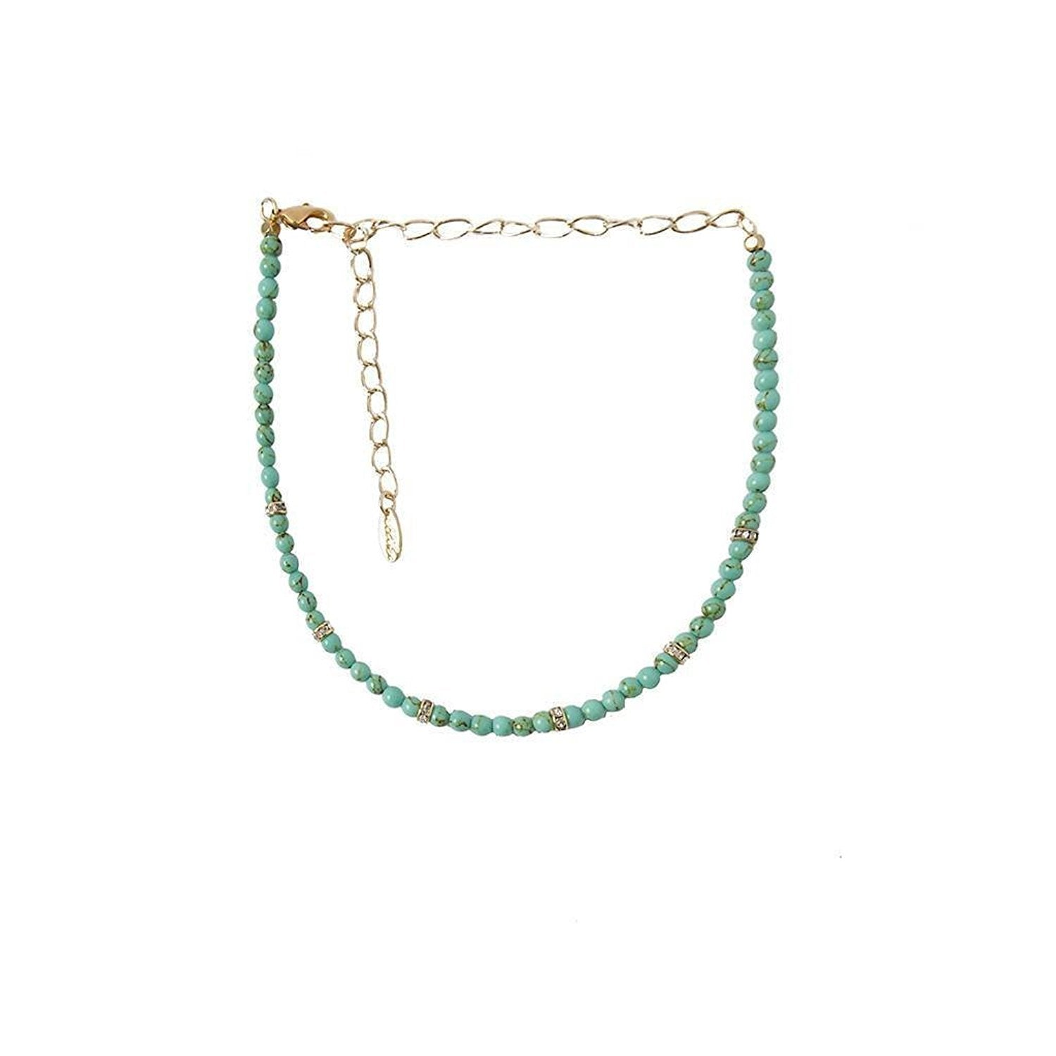 Ettika Mean One Thing Gold Tone and Turquoise Beaded Choker Necklace