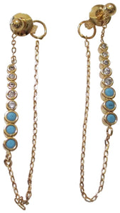 Tai Dainty Gold Plated Crystal and Blue Drop Chain Earrings