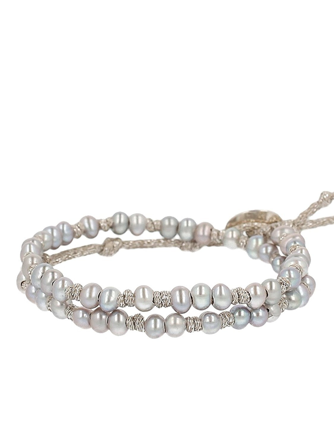 Chan Luu Grey Freshwater Cultured Pearls On A Knotted Silver Tone Metallic Wrap Bracelet