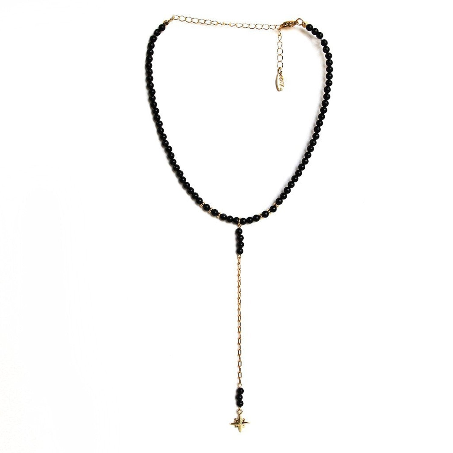 Ettika Call Me maybe Jet and Gold Tone Beaded North Star Choker Necklace