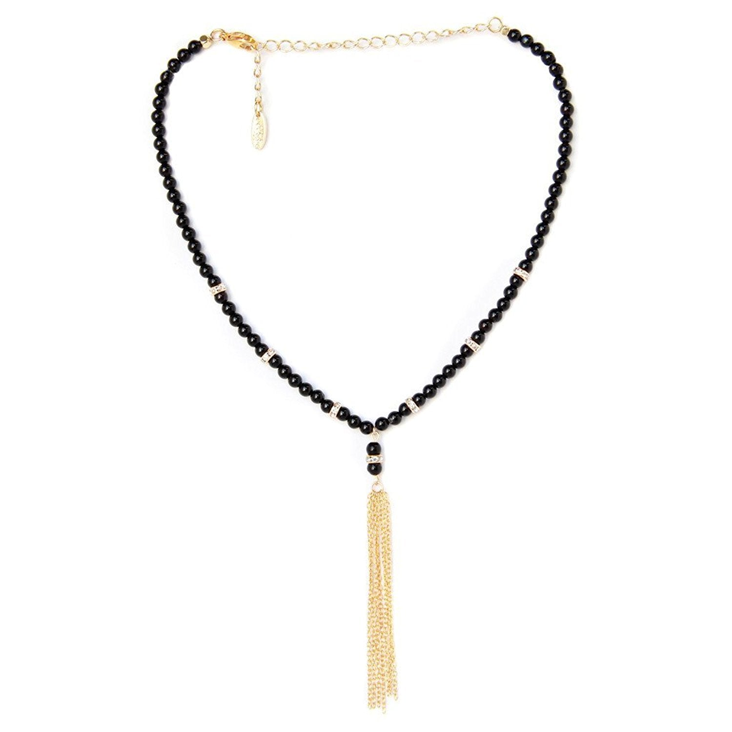 Ettika One Of The Classics Onyx and Gold Tone Tassel Choker Necklace
