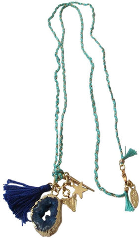Ettika Long Blue Stone And Tassel Charm Necklace