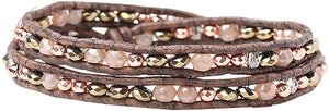Chan Luu Rose Gold Plated Mix Double Wrap Natural Grey Leather Bracelet