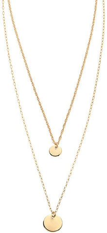 Shashi Gold Plated Double Gigi Layer Circle Discs Pendant Necklace
