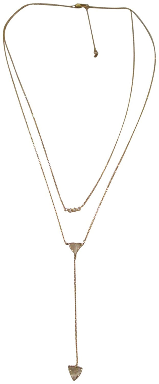 Tai Gold Plated Double Row Dainty Rock Crystal Y Multi Stone Necklace