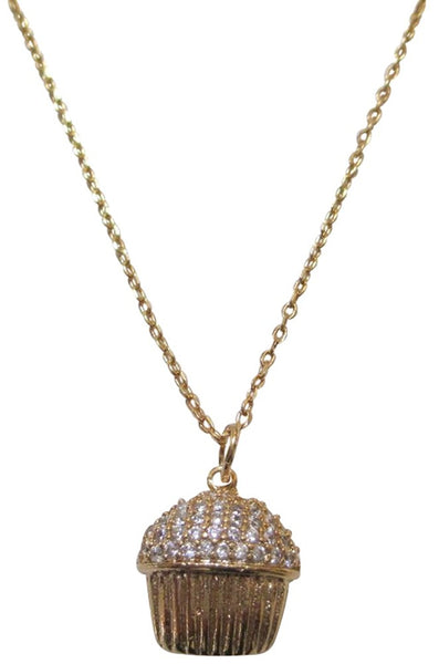 Tai 18k Gold Plated Brass Crystal Cupcake Necklace