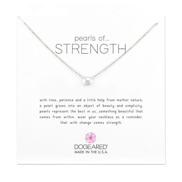 "Dogeared Sterling Pearls of Strength Small Freshwater Cultured 16"" with 2"" Ext. Necklace"