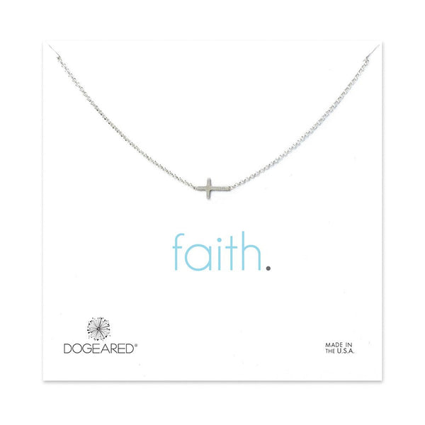 "Dogeared Faith Small Sideways Cross 16"" with 2"" Extender Chain Necklace"