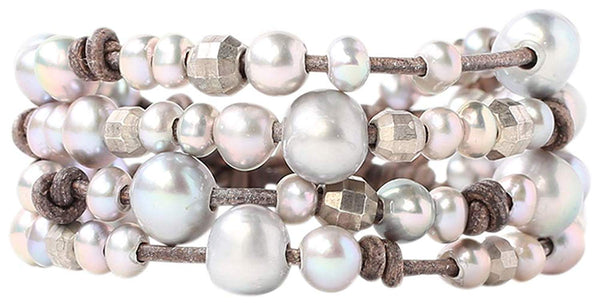 Chan Luu Freshwater Cultured Pearls and Indian Beads Leather Layered Bracelet