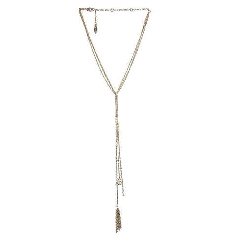 Ettika Tempt Fate Multi Strand Tassel Gold Tone Y Necklace