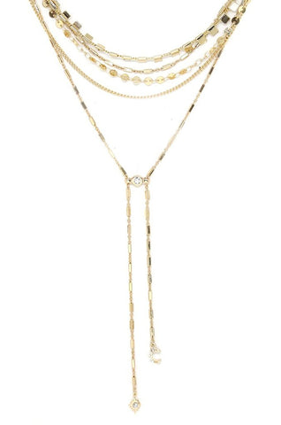 Ettika Malibu Breeze Gold Tone Multi Row Lariat Choker Drop Necklace