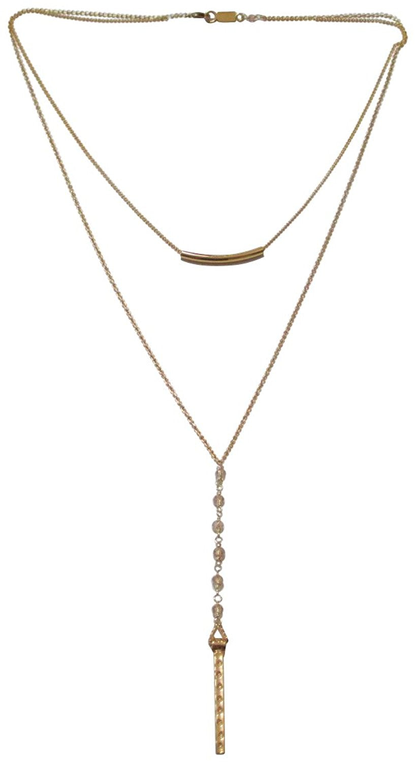 Chan Luu Sunflower Gold Tone Double Curved Bar Layer Pendant Necklace