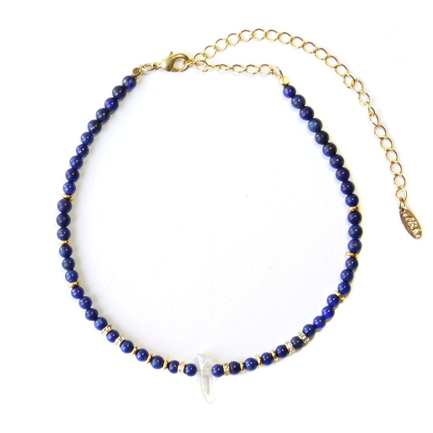 Ettika Crystal Arts Blue And Gold Tone With Pave Crystal Choker Necklace