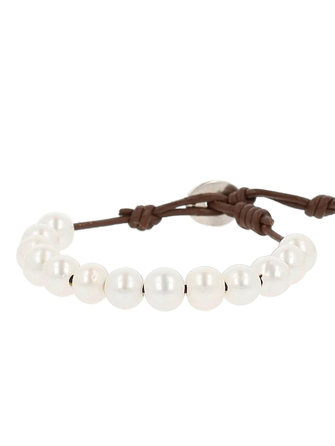 Chan Luu White Freshwater Cultured Pearls On A Brown Leather Adjustable Bracelet