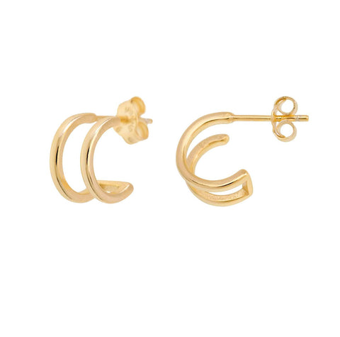Shashi Women's Erin Double Bar Hoop Earrings, Gold Plated, One Size