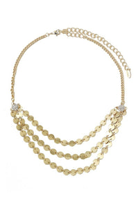 Ettika Bardot Mini Disc Choker Multi Row Goldtone Necklace