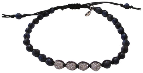 Tai Braided Navy Cord with Blue Beads And Four Silvertone Cz Crystal Mini Balls Adjustable Bracelet