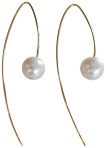 Chan Luu White Cultured Freshwater Pearl Gold Plated Threader Wire Earrings
