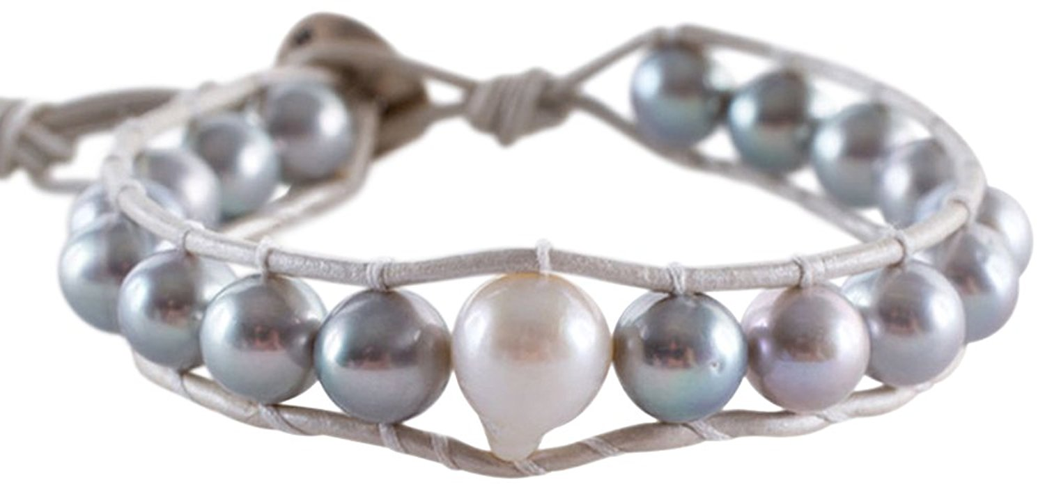 Chan Luu Womens Grey Pearl Bracelet on Grey Leather, Adjustable