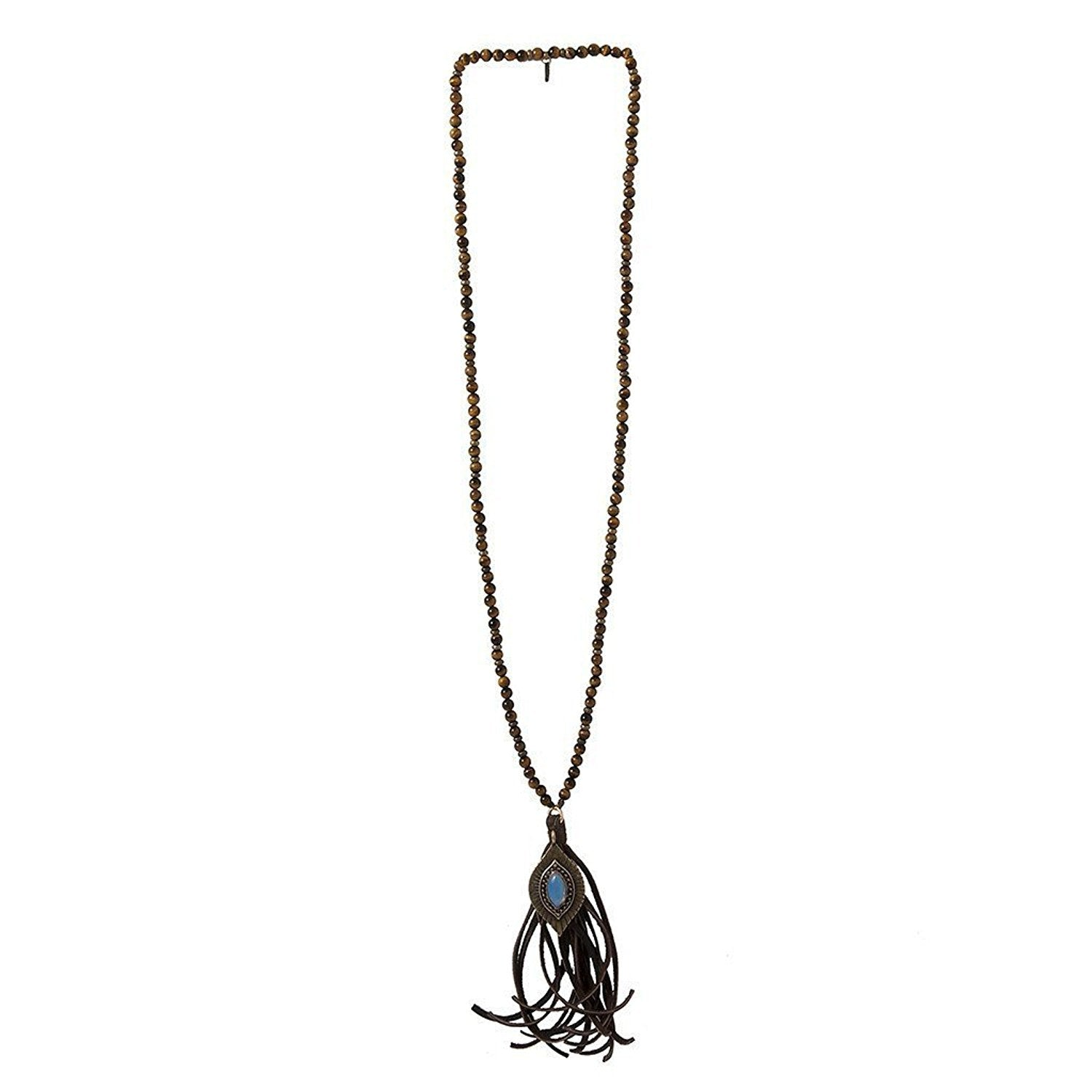 Ettika Hippie Wake Up Brown Antiqued Gold Tone Tassel and Stone Necklace