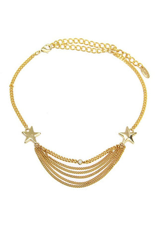 "Ettika Gianna Star Multi Row Choker in Gold Goldtone 14.75"" Necklace"