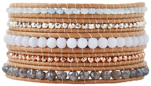 Chan Luu Women's Semi-Precious Stone Five-Beige Leather Wrap Aqua Mix Bracelet