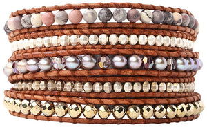 Chan Luu Taupe Mix of Semi-Precious Stones On  Dark Brown Leather Wrap Bracelet