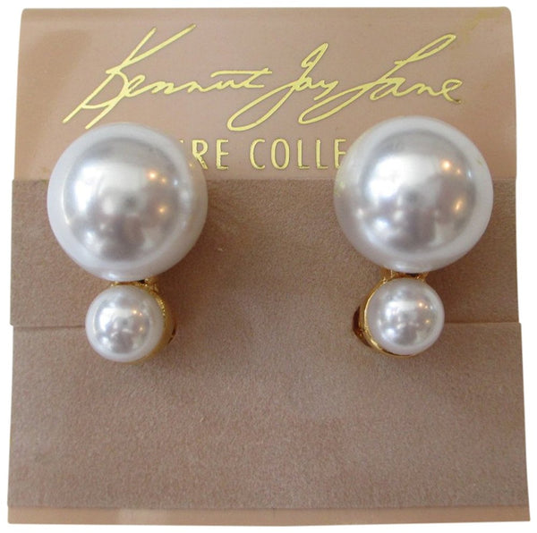 Kenneth Jay Lane Gold Tone Cream Cultured Freshwater Double Pearl Clip Earrings