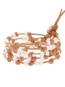 Chan Luu White Freshwater Cultured Pearls On A Natural Beige Knotted Leather Wrap Bracelet