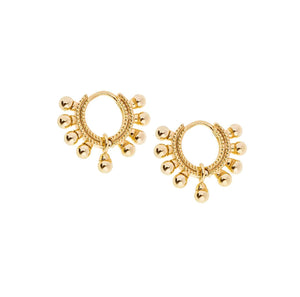SHASHI Lola Huggie Gold Plated Petite Ball Hoop Earrings