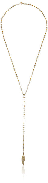 Tai Charm Beaded Lab Y-Shaped Necklace, 24""