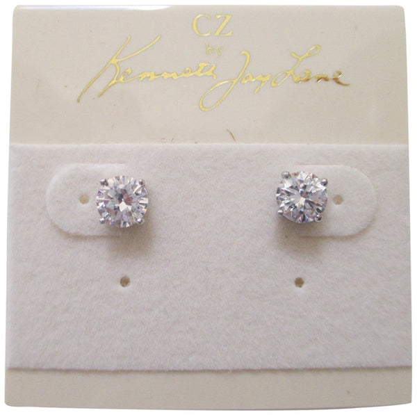CZ by Kenneth Jay Lane 2CTTW Round CZ Rhodium Plated 4 Prong Post Stud Earrings