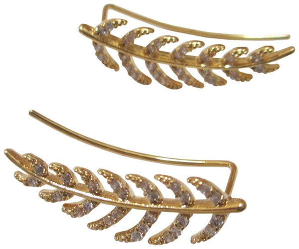Tai Pave Crystal Leaf Ear Climber Pierced Earrings (gold-plated-base)